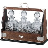 Silver Plated Solid Oak Tantalus