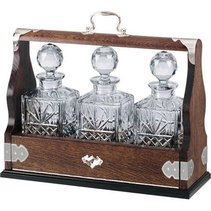 Three Decanter Solid Oak Tantalus (Silver Plated Brass Fittings)