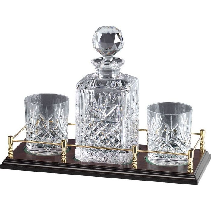 Lead Crystal Whisky Set On Stand 2 Glasses