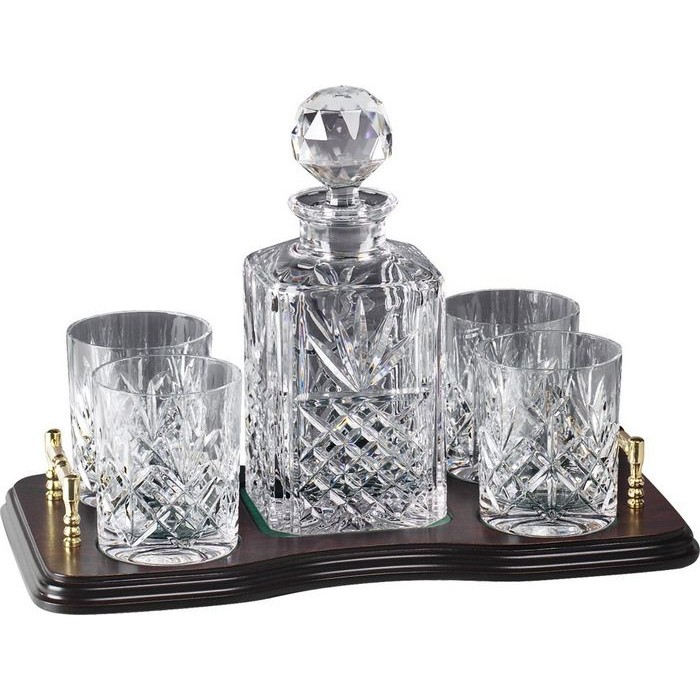 Lead Crystal Whisky Set On Stand 4 Glasses