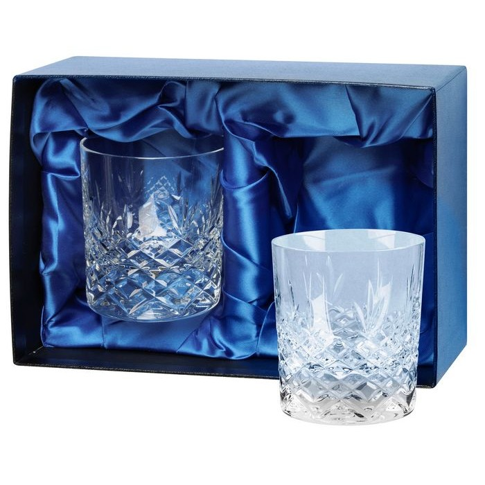 Lead Crystal Pair Of Whisky Tumblers