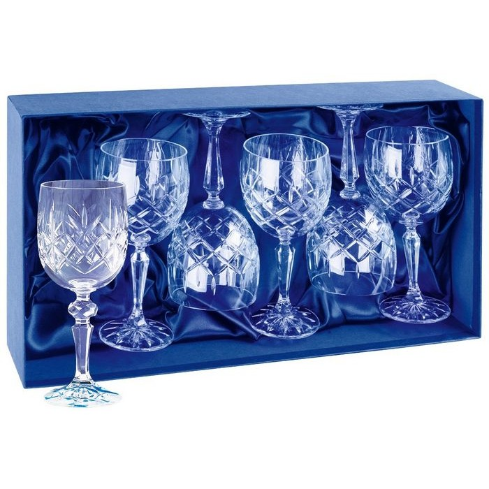 Lead Crystal Six Red Wine Glasses