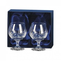 Lead Crystal Pair Of Brandy Goblets