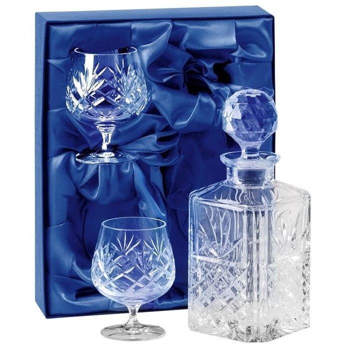 Lead Crystal Decanter And Two Glass Brandy Set