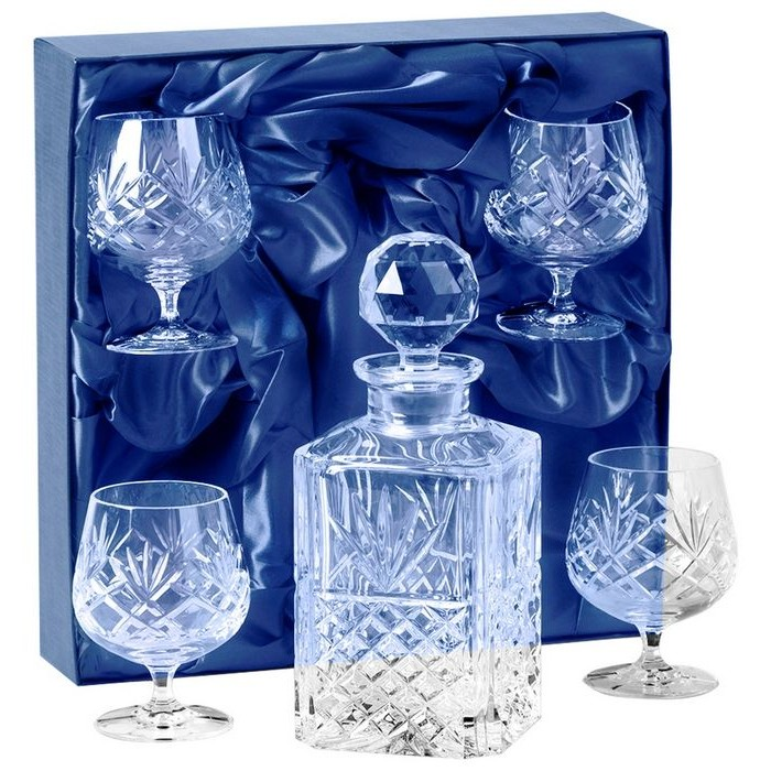 Lead Crystal Decanter And Four Glass Brandy Set