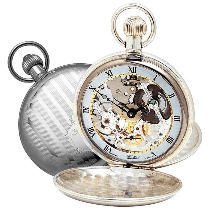 Sterling Silver Swiss Skeleton Unitas Movement Pocket Watch