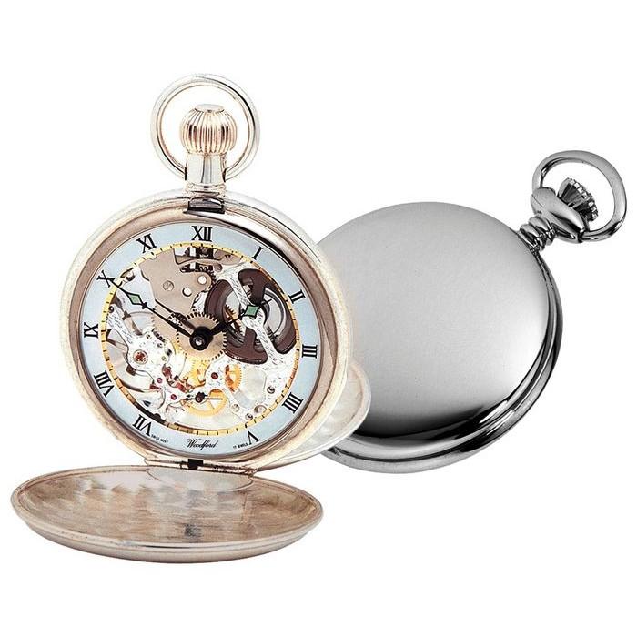 Sterling Silver Swiss Skeleton Unitas Movement Pocket Watch