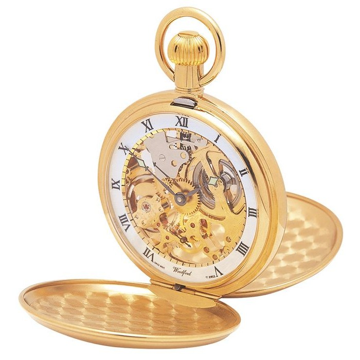 Gold Plated Swiss Made Pocket Watch Full Skeleton And Chain