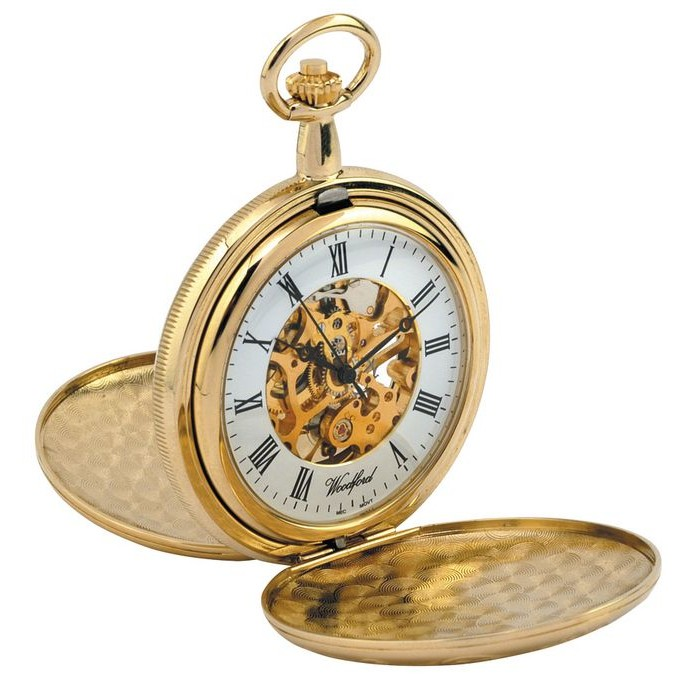 Gold Plated Pocket Watch With Chain Skeleton Movement