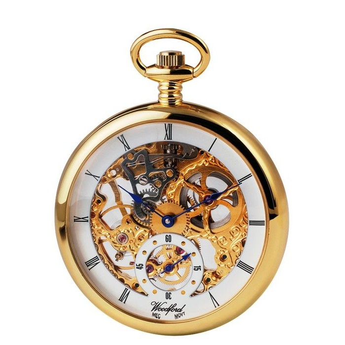 Gold Plated Pocket Watch With Full Size Skeleton Movement