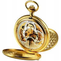 Gold Plated Pocket Watch 2 Time Zone With Sun And Moon Dial