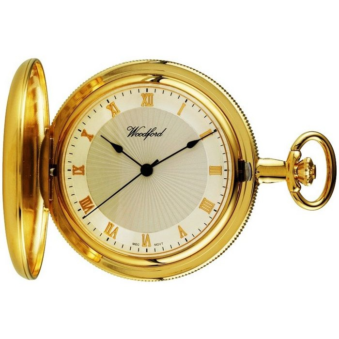 Gold Plated Pocket Watch With Chain Sun Burst Dial