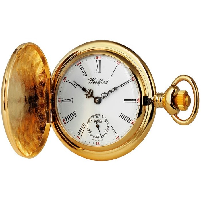 Gold Plated Swiss Made Pocket Watch With Watch Chain