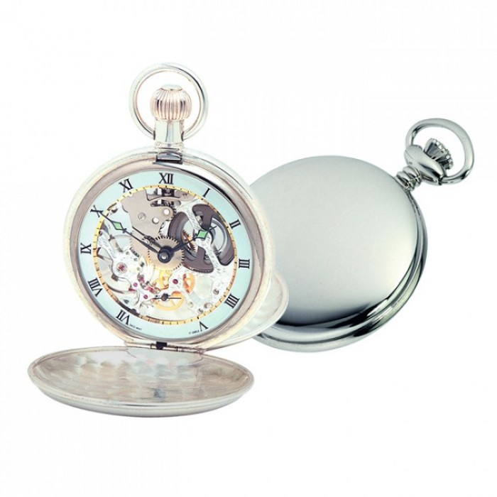 Sterling Silver Swiss Skeleton Unitas Movement Pocket Watch with Albert Chain