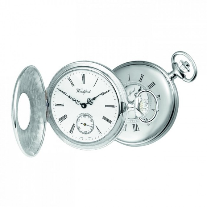 Sterling Silver Swiss Unitas Movement Pocket Watch With Albert Chain