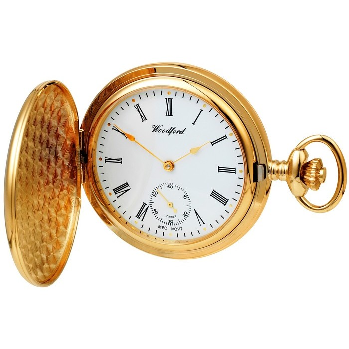 Gold Plated Pocket Watch With Chain Separate Second Dial