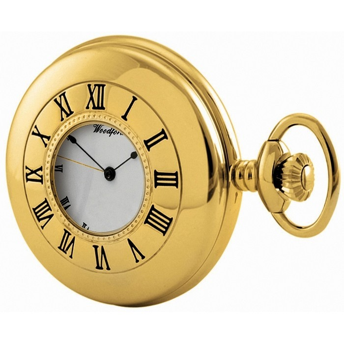 Gold Plated Pocket Watch With Chain Gilt Hands And Numerals