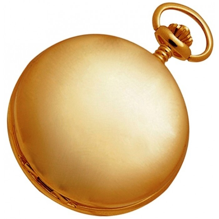 Gold Plated Pocket Watch With Watch Chain Quartz