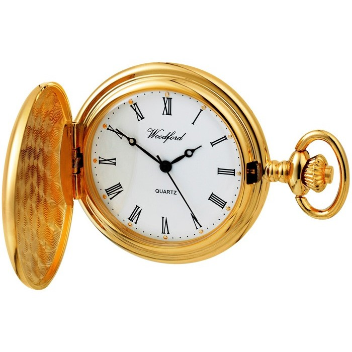Gold Plated Pocket Watch Quartz With Watch Chain