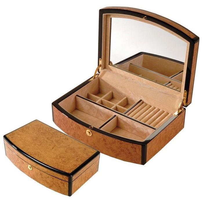Veneered Oak Wood Jewellery Box