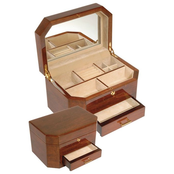 Veneered Oak Wood Jewellery Box