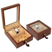 Oak Wood Three Watches And Cufflinks Box