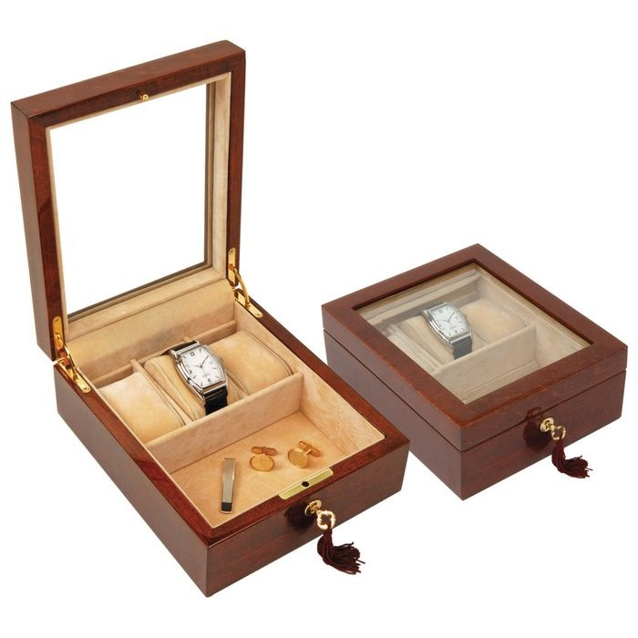 Veneered Oak Wood Three Watches And Cufflinks Box