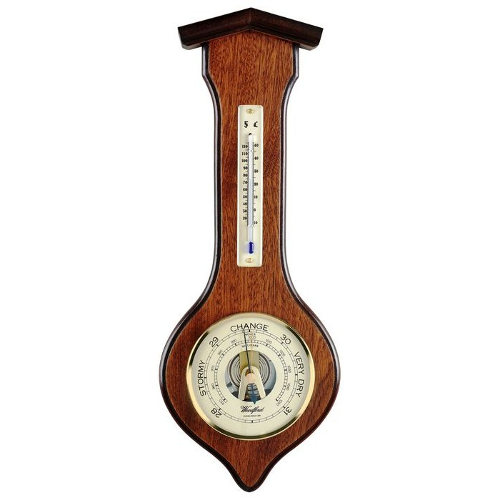 Veneered Oak Wood Barometer And Thermometer