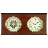 Oak Wood Barometer And Clock