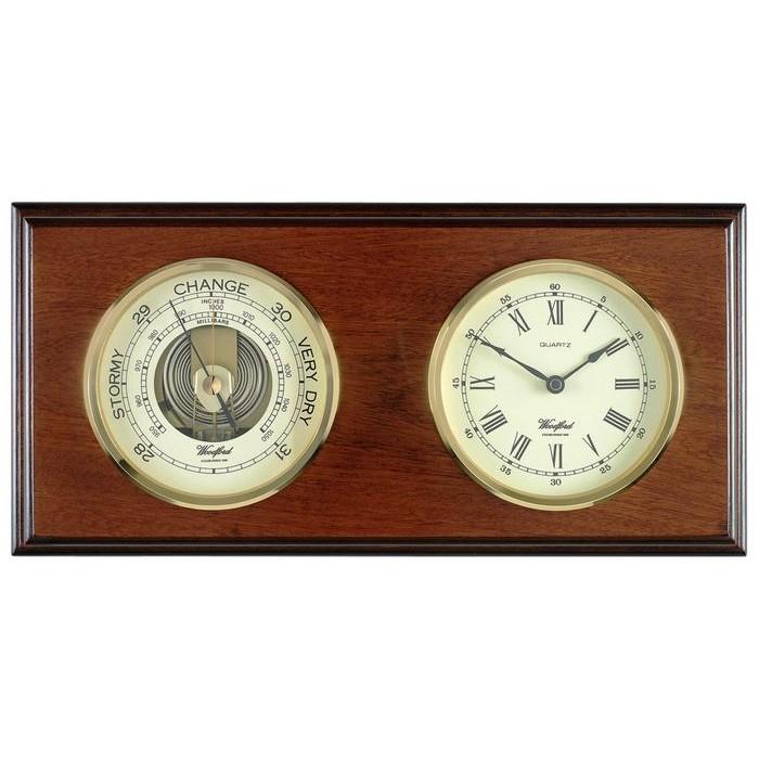 Veneered Oak Wood Barometer And Clock