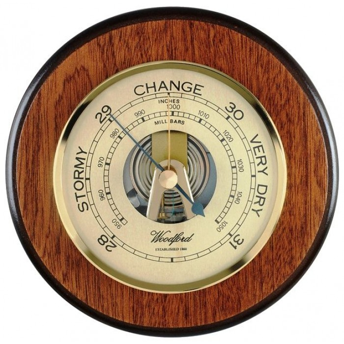 Veneered Oak Wood Barometer