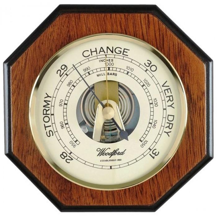 Veneered Oak Wood Barometer