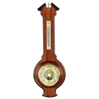 Oak Wood Barometer And Thermometer