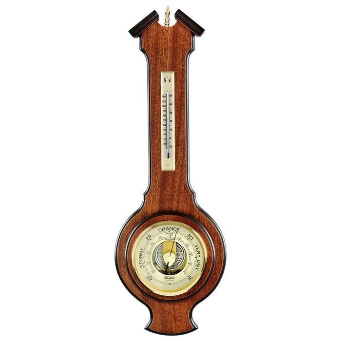 Veneered Oak Wood Barometer And Thermometer