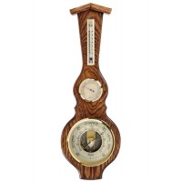 Solid Oak Barometer And Thermometer