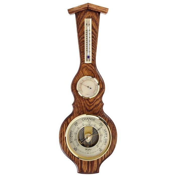 Veneered Oak Wood Solid Oak Barometer And Thermometer