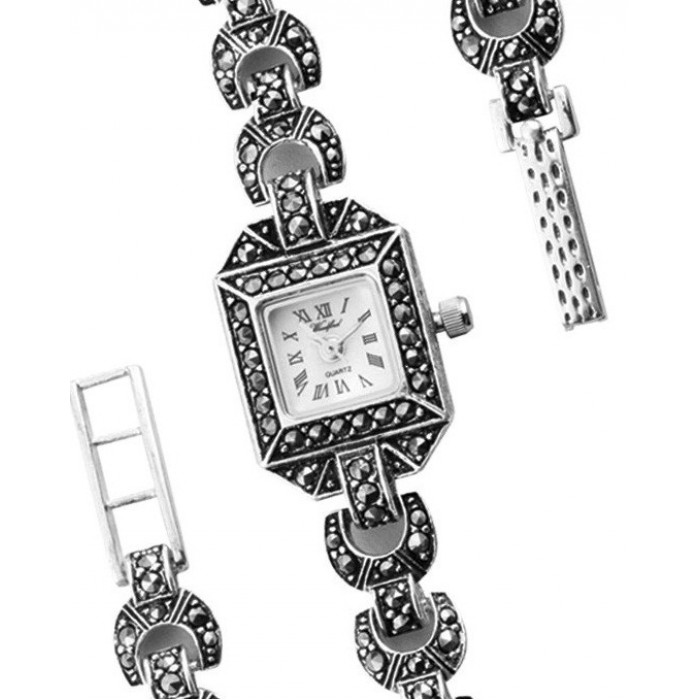 Woodford Ladies Sterling Silver Square Watch With Marcasite Stones