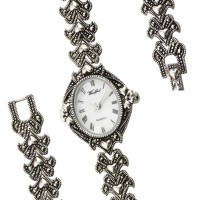 Silver Hearts Marcasite Watch