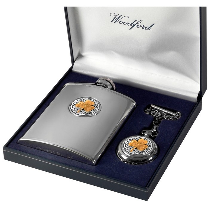 Gold Plated Stainless Steel Flask And Pocket Watch Set Shamrock