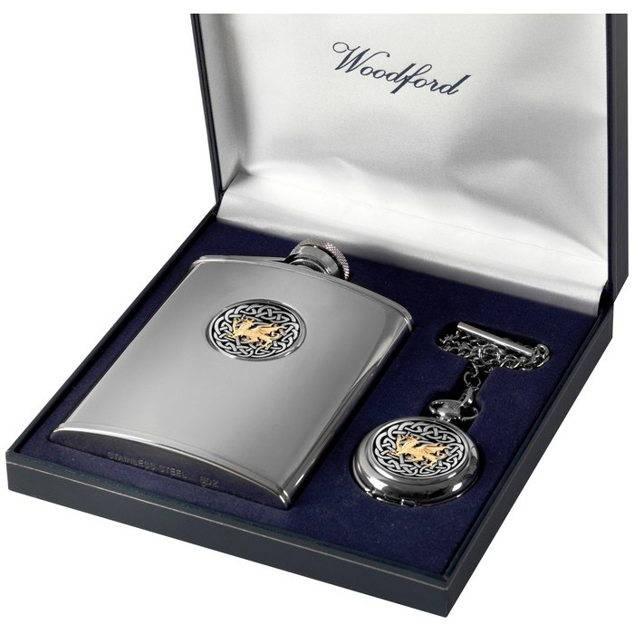 Gold Plated Stainless Steel Flask And Pocket Watch Set Welsh Dragon