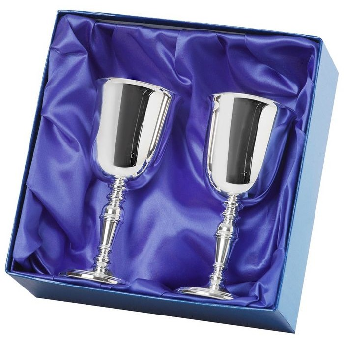 Silver Plated Pair Of Goblets