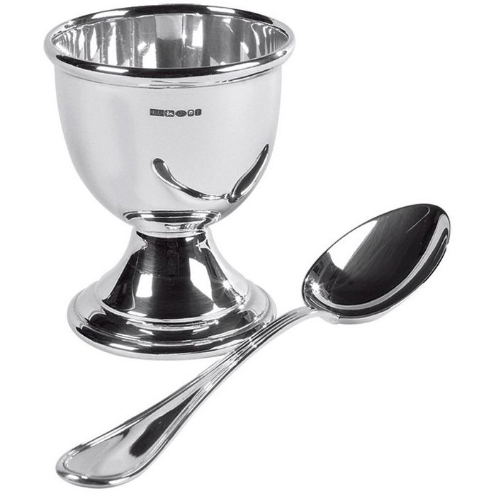 Sterling Silver Egg Cup And Spoon Set