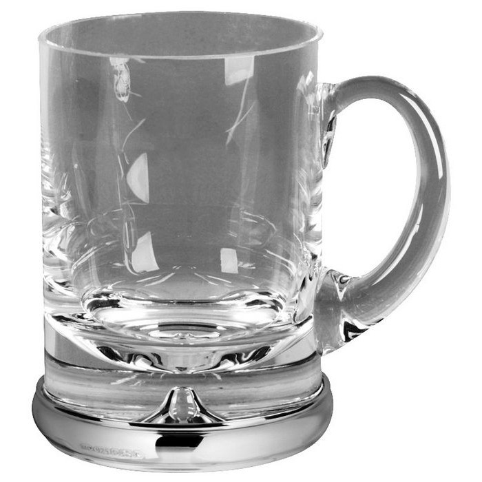 Lead Crystal 1 Pint Tankard with Silver Base