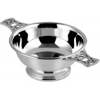 Sterling Silver Quaich With A Pierced Celtic Handle