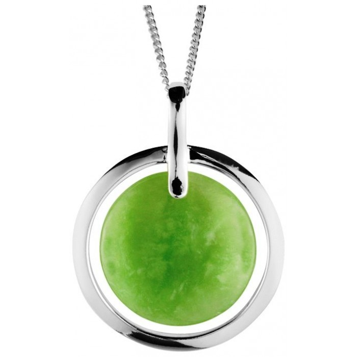 Sterling Silver Green Jade Pendant With 16 Inch Chain