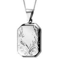 Engraved Rectangle Locket Necklace