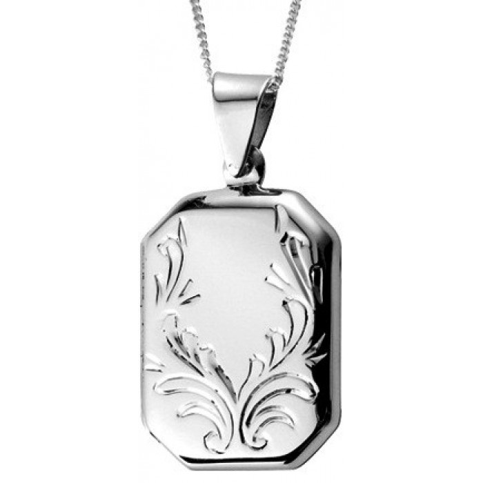 Sterling Silver Engraved Rectangle Locket Necklace