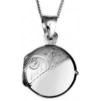 Engraved Round Locket Necklace