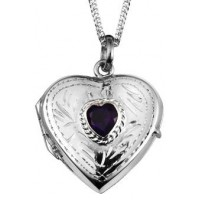 Sterling Silver Amethyst Heart Locket Necklace