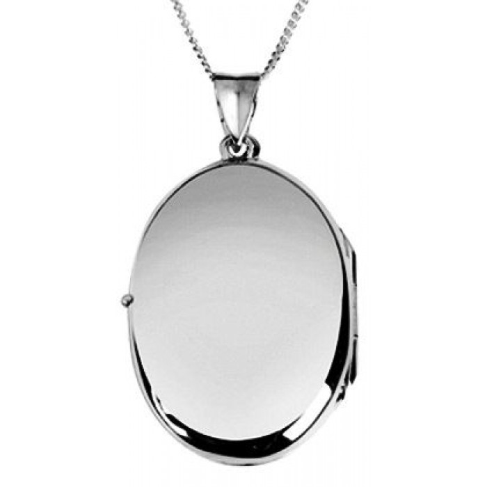 Sterling Silver Plain Oval Locket Necklace